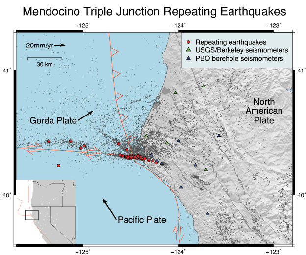 Map showing earthquakes and faults at the Mendocino Triple Junction
