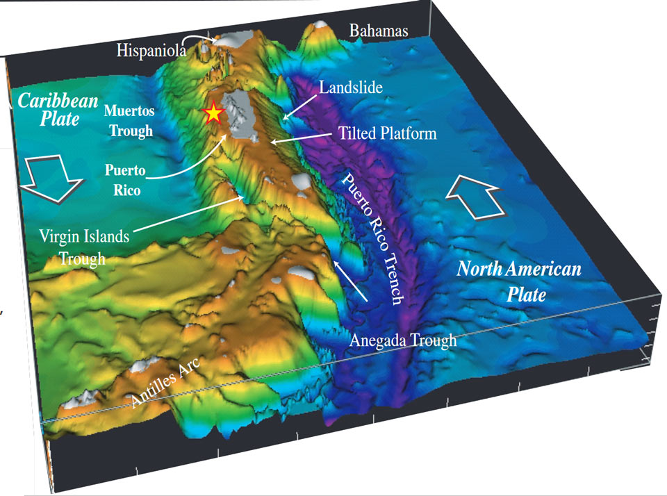 Bathymetry of northern        Caribbean
