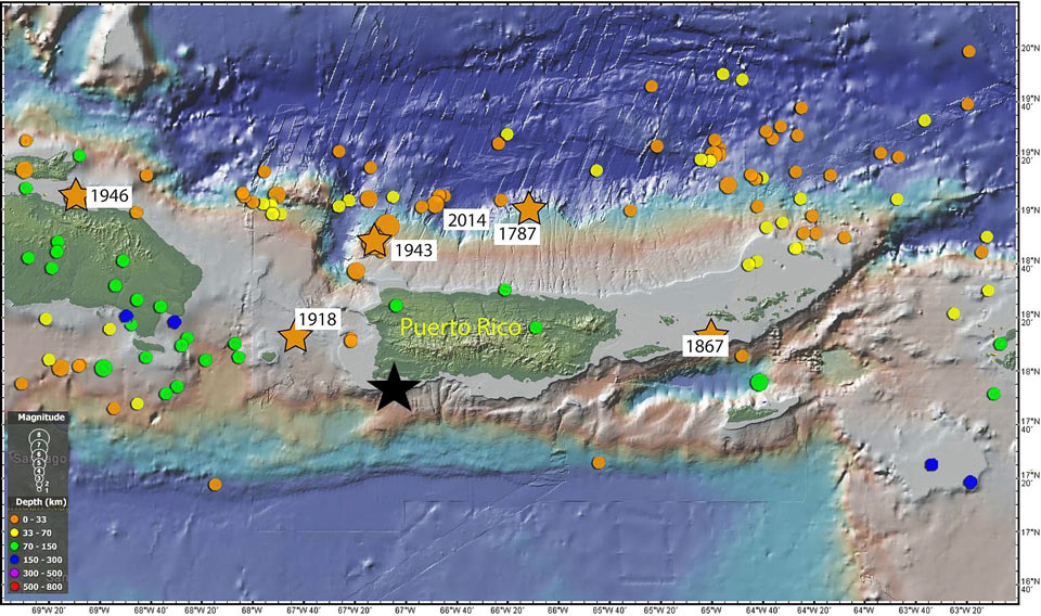 Map showing historic        seismicity around Puerto Rico