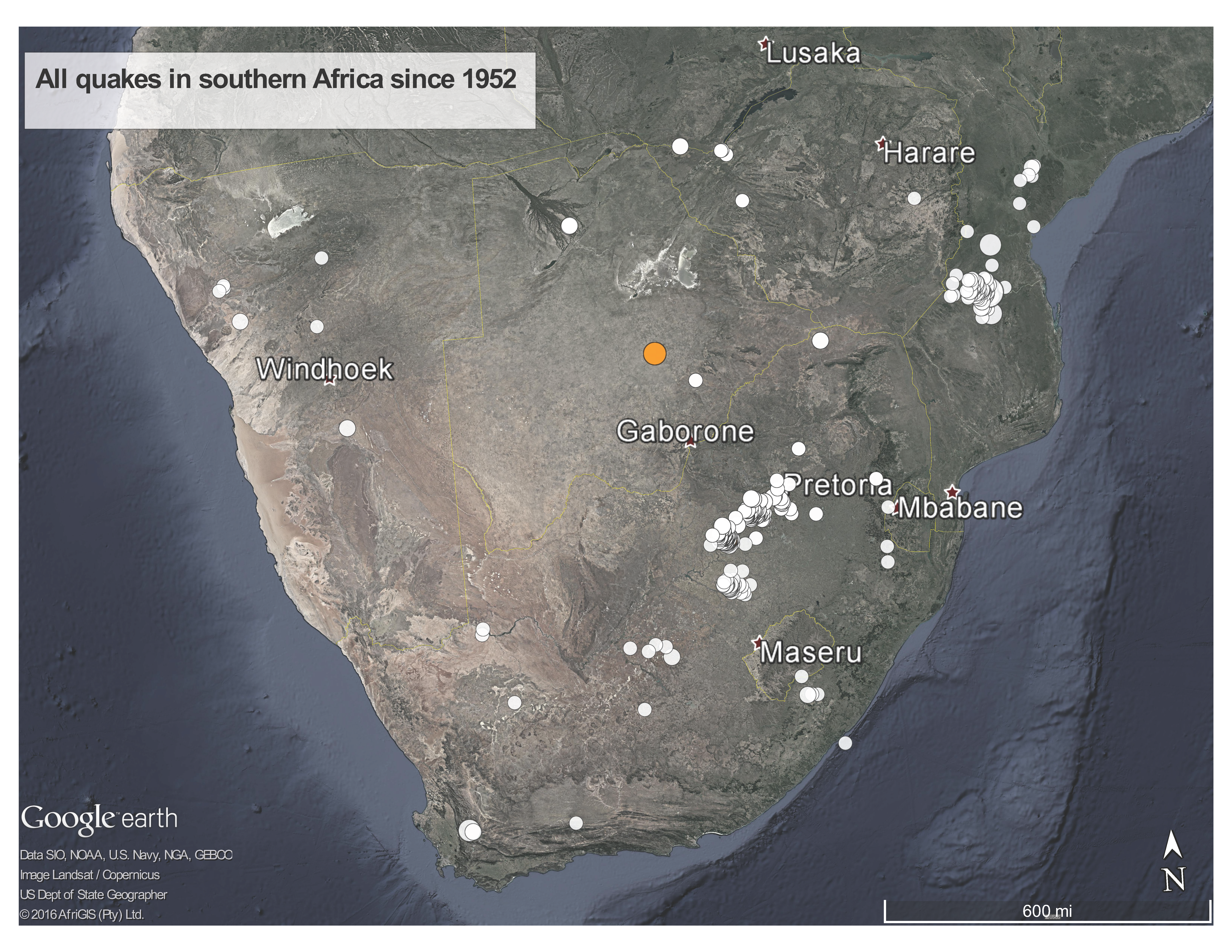 Google Earth image of seismic activity in Southern Africa