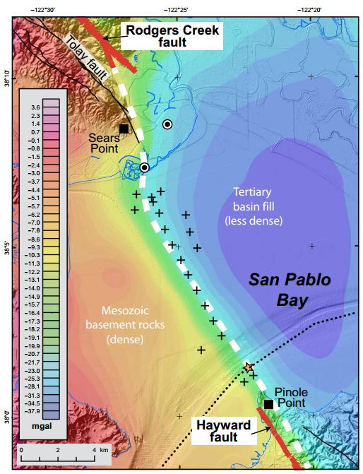 Gravity map of San Pablo Bay