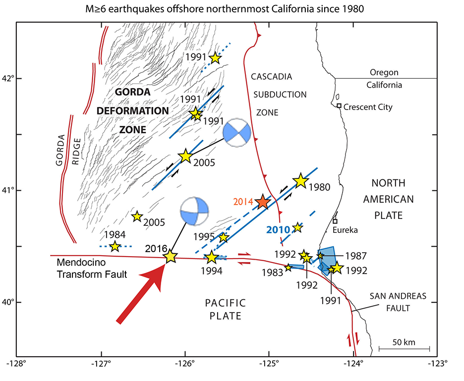 Map showing north coast of CA, faults, earthquake epicenters represented as stars, and so called beach ball focal mechanisms for two quakes.