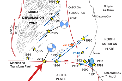 Map of Cape Mendocino quakes