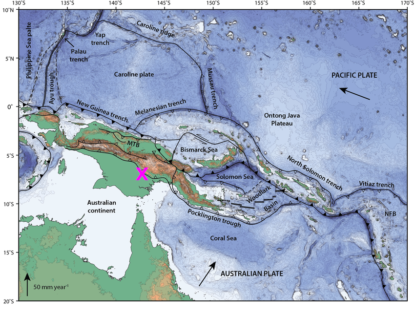 Map showing epicenter of recent Papua New Guinea quake.