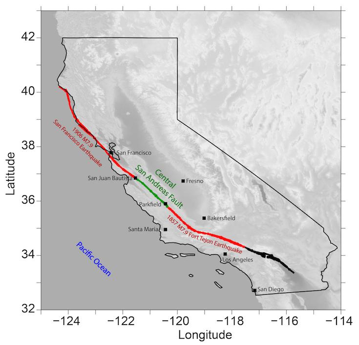 Map of California showing the San Andreas Fault
