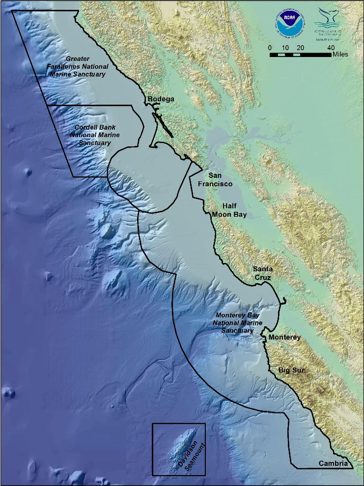 Map of the continental shelf off the California coast.