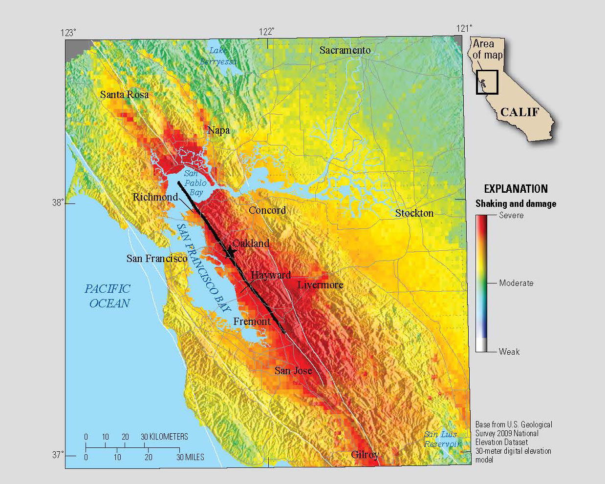 Graph showing expected shaking of hypothetical M7 quake on the Hayward Fault