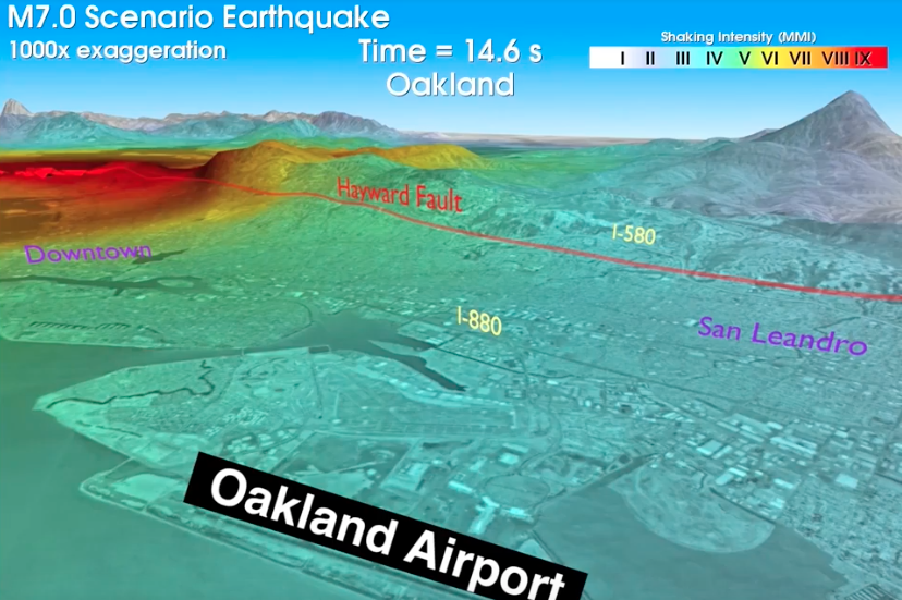Screen shot showing ground shaking in red along the Hayward Fault, on a grayscale map of the East Bay