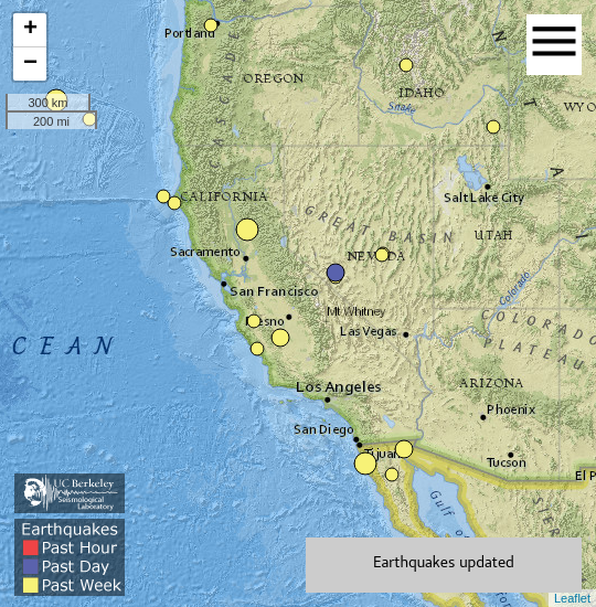 Thumbnail image of real-time earthquakes map
