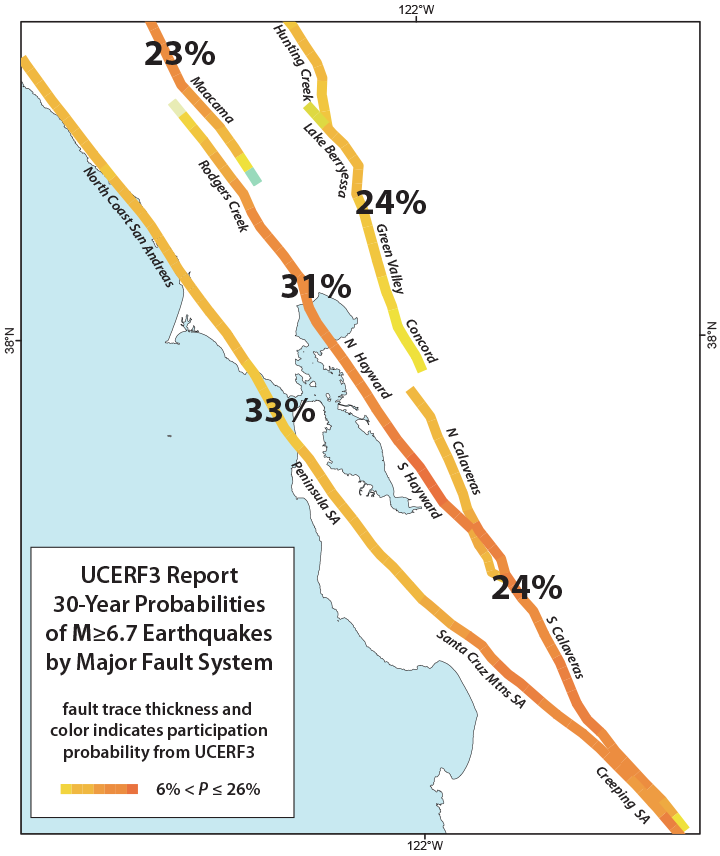 Map of Bay Area showing major faults with earthquake probabilities