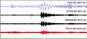 Seismogram showing tremor